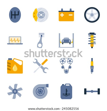 Car service flat icons set graphic illustration design - stock vector