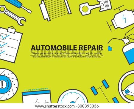 car service ,garage, equipment background - stock vector