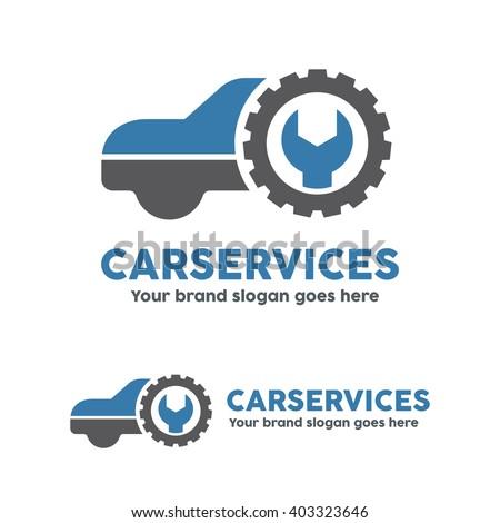 Car service garage, logo, Shop brand identity, automobile car product, Car repair sign. - stock vector