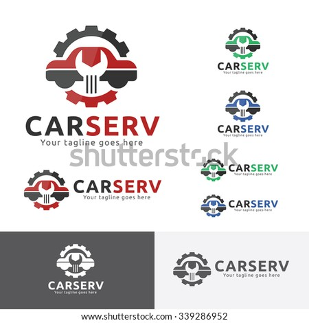 Car Service Garage Logo, Shop Brand Identity, Automobile  Repair Sign. 3 Colors Set. - stock vector