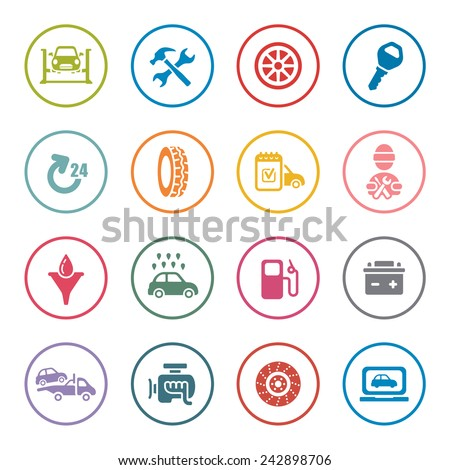 Car service icon set - stock vector