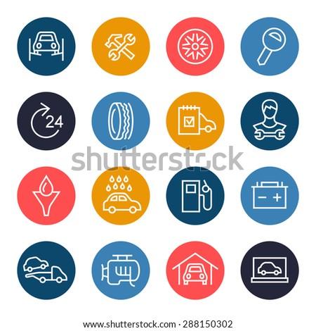 Car service icon set - stock vector