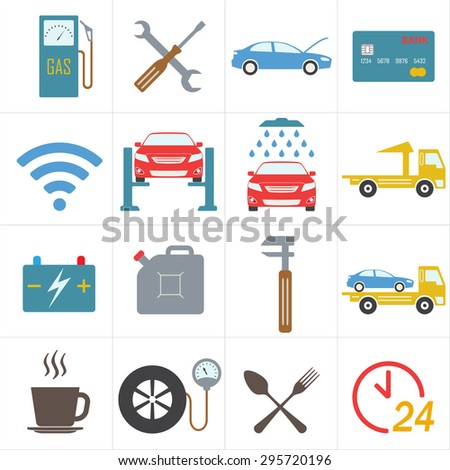 Car service icon set in flat design. Vehicle maintenance and repair. Colorful vector illustration.  - stock vector