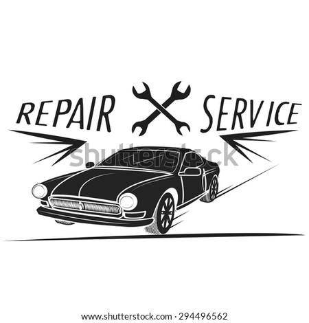 Car service icons. Auto parts. Rent a car. Car wash. Retro vintage - stock vector