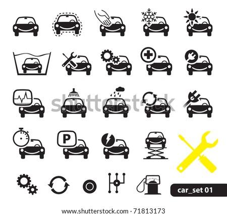 Car service icons, set - stock vector