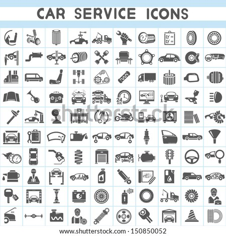car service icons set, car parts set - stock vector