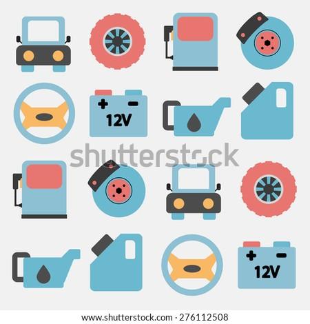 Car Service Icons Set Car Parts Stock Vector (2018) 276112508 ...