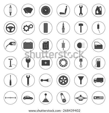 Car service icons set, car parts set. Vector EPS8 illustration.  - stock vector