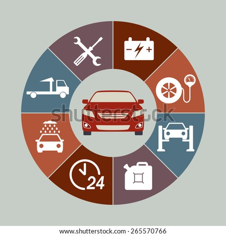 Car service icons set isolated in round chart. Auto service infographics. Vector illustration.  - stock vector