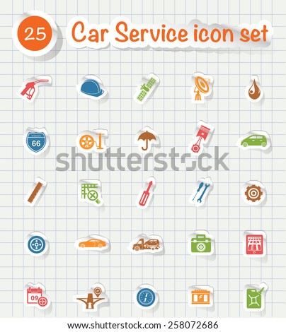 Car service icons,sticker paper icons, vector - stock vector