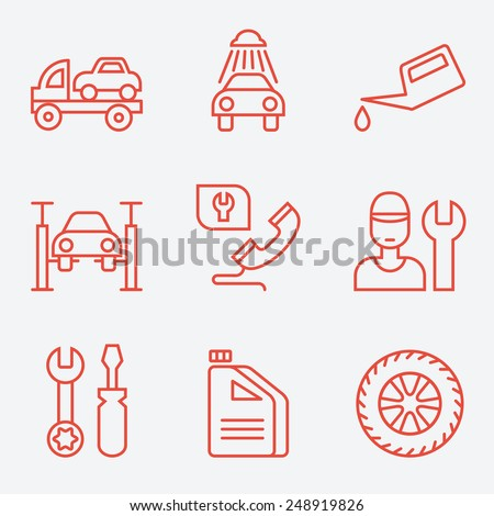 Car service icons, thin line style, flat design - stock vector