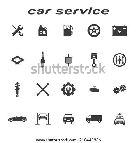 car service icons vector set - stock vector