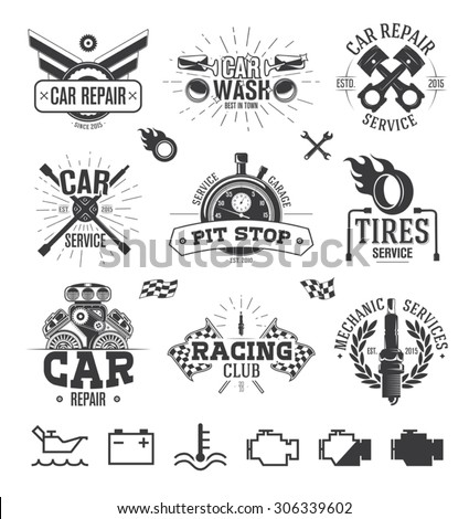 Car service Labels, Emblems and Logos - stock vector