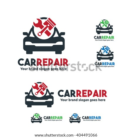 Car Service Logo, Car fix with Wrench and piston symbol - stock vector