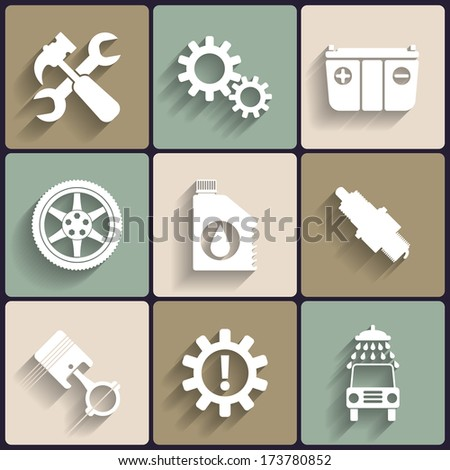Car service maintenance flat icon set. Vector illustration. - stock vector