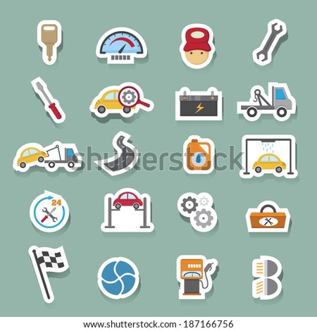 Car service maintenance icons set - stock vector