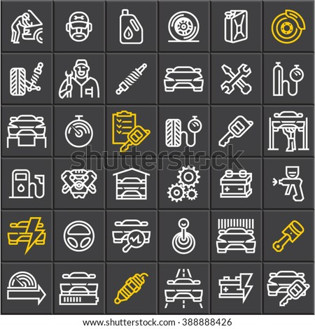 Car service maintenance icons set on black background, car vector line icons, mechanic, garage, auto parts, car repair