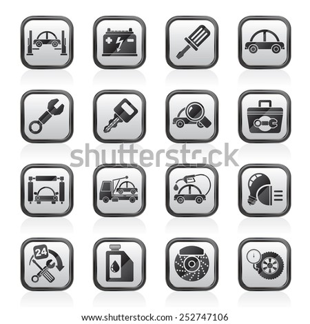 Car service maintenance icons - vector icon set - stock vector
