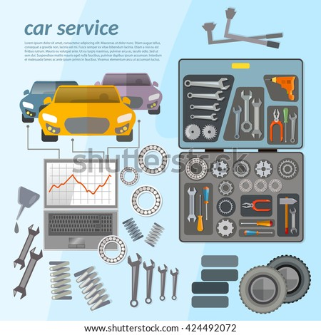 Car service mechanic tool box car repair diagnostics tuning  professional auto repair vector illustration - stock vector