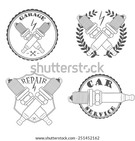car service repair quality logos and pictures - stock vector