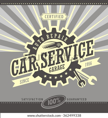 Car service retro banner design concept stock vector for Garage auto discount montpellier