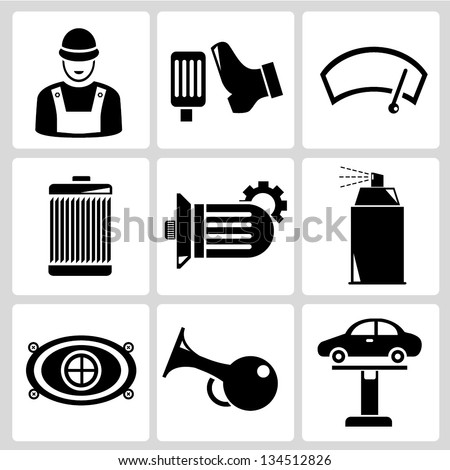 car service set - stock vector