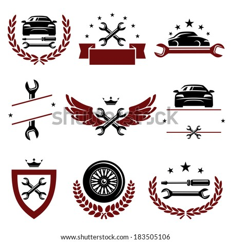 Car service set. Vector - stock vector