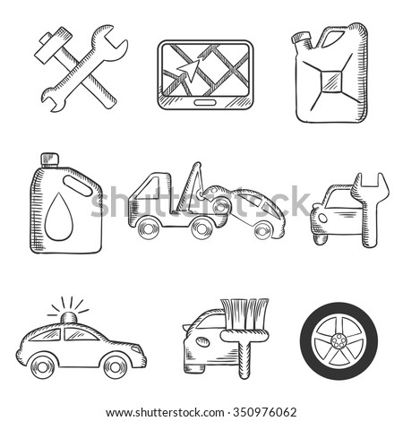 Car service sketch icons including tools, road sign, oil and petrol containers, tow truck, wheel, tyre, jerry can, police, car wash and garage - stock vector