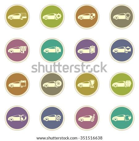 Car Service Stickers Label Icon Set Stock Vector 351516638
