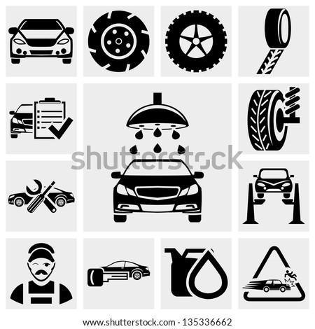 Car service vector icon set. - stock vector