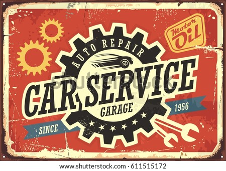 Car Service Vintage Tin Sign Design Concept For Garage Or Auto Mechanic Retro Signboard With