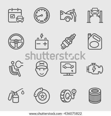 Car services line icon - stock vector