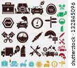car set of icons - stock photo