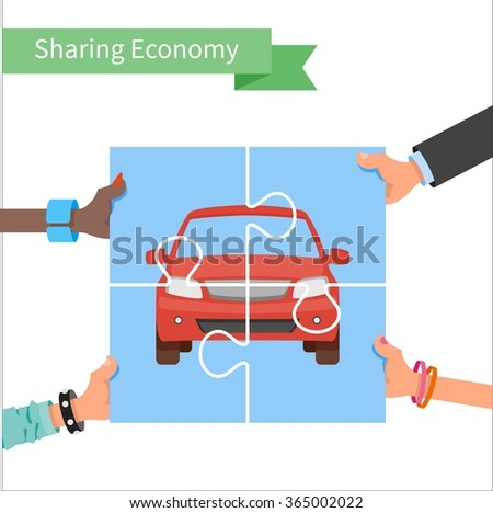 Car share concept. Sharing economy and collaborative consumption vector Illustration. Hands holding vehicle puzzle. - stock vector