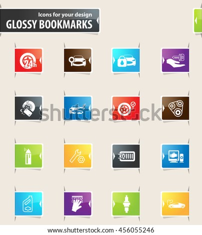 Car shop vector glossy bookmarks for your design - stock vector