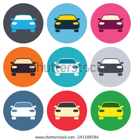 Car sign icon. Delivery transport symbol. Colored round buttons. Flat design circle icons set. Vector - stock vector