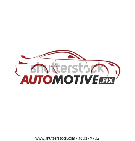 car silhouette icon with red line and white background. Mechanic service and mechanics, connection and operation engineering design work. - stock vector