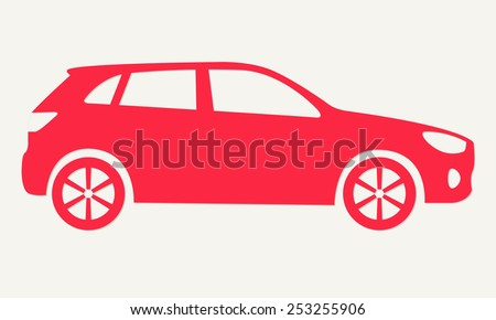 Car silhouette. Red icon of suv. Vector illustration. - stock vector
