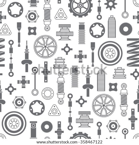 Car spare parts flat icons seamless pattern on orange background - stock vector