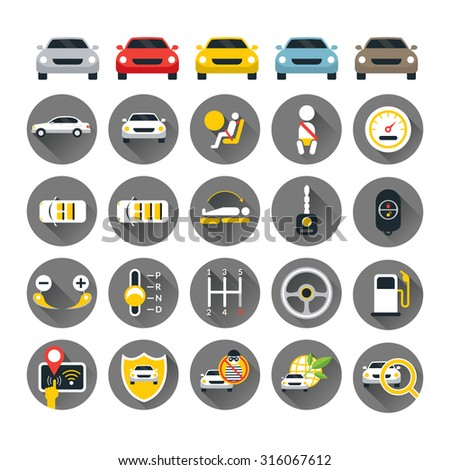 Car Specification and Performance Objects icons Set, Flat Design, Automobile Function and Option - stock vector