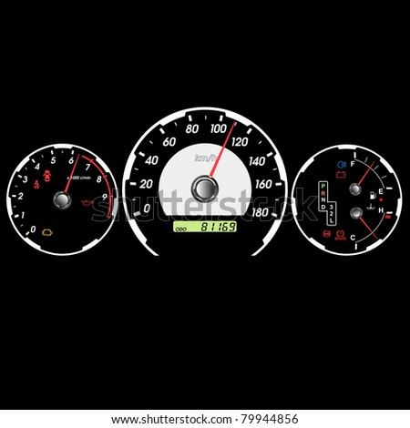 Car speedometer and dashboard at night. Vector illustration - stock vector