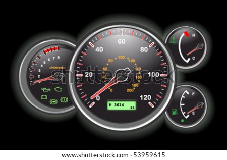 Car speedometer and dashboard at night. Vector illustration saved as EPS AI8, all elements layered and grouped. - stock vector