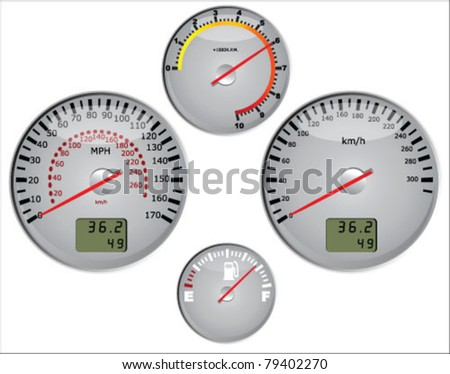 Car speedometer in miles and kilometers and dashboard vector - stock vector