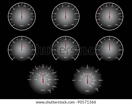 Car speedometer set - stock vector