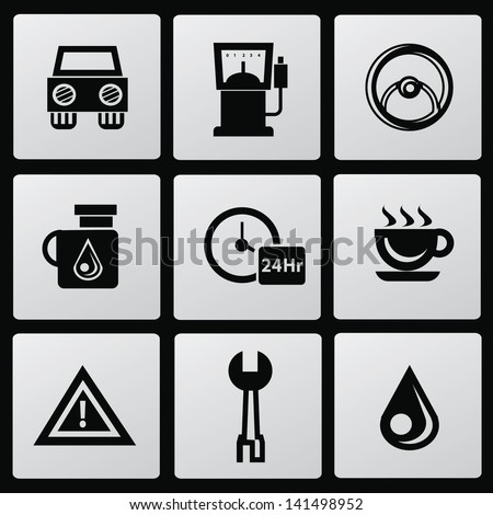 Car station icons,vector - stock vector