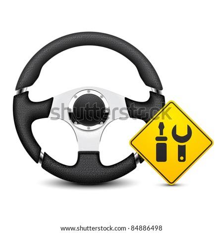 car steering wheel service icon - stock vector