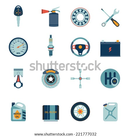 Car system parts technology auto service flat icons set isolated vector illustration - stock vector