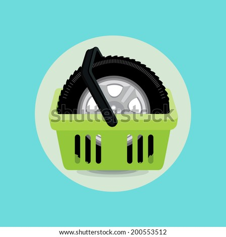 car tire and shopping basket flat design - stock vector