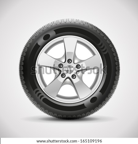 car tire, vector - stock vector