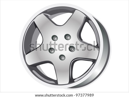 Car tire with rim on a white background - stock vector